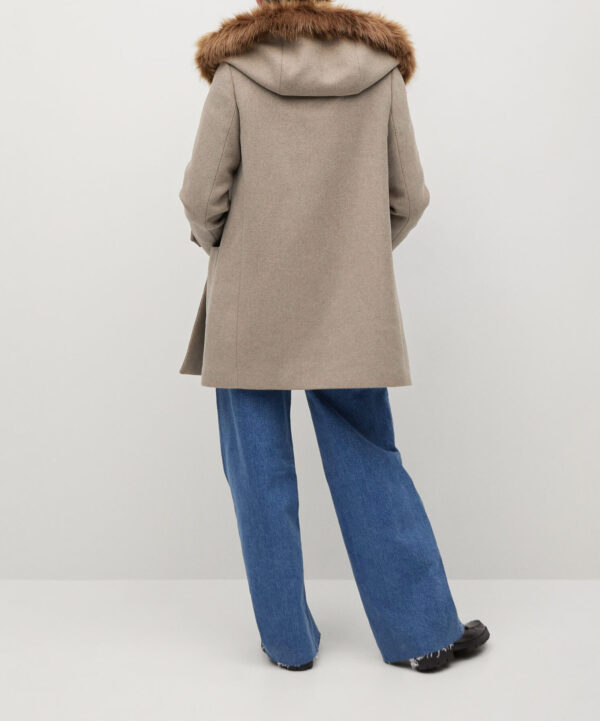 Faux Fur Coffee Hooded Coat