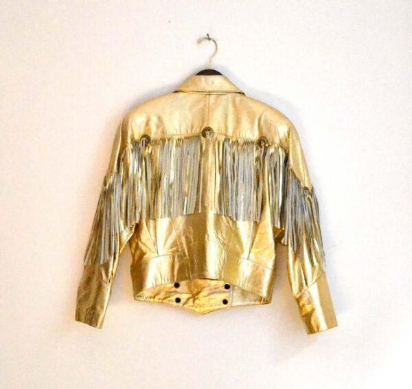 Fringe Metallic Gold 80s Vintage Leather Jacket