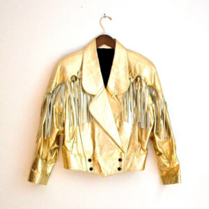 Fringe Metallic Gold 80s Vintage Leather Jacket