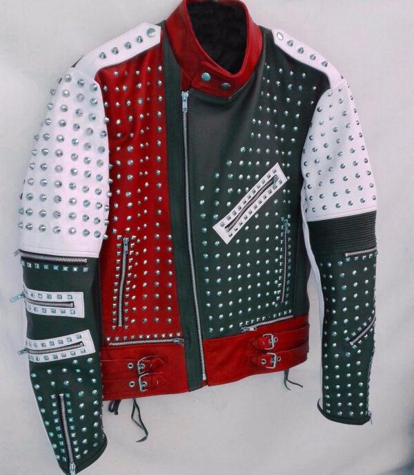 Full Studded Biker Leather Jacket