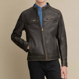 Gabe Leather Jacket with Patches