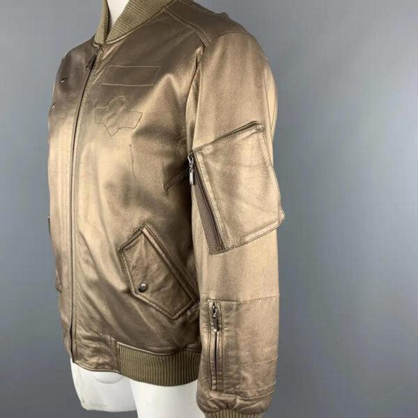 Gold Metallic Vintage Leather Bomber Style Jacket
