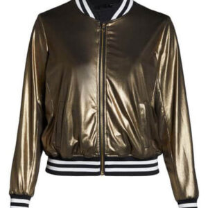 Gold Nikki Bomber Metallic Leather Jacket