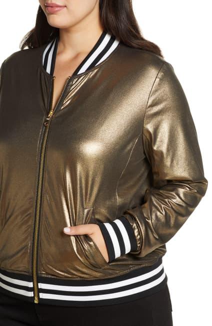 Gold Nikki Bomber Metallic Leather Jacket