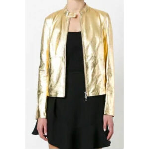 Gold Tone Metallic Women Fashion Leather Jacket