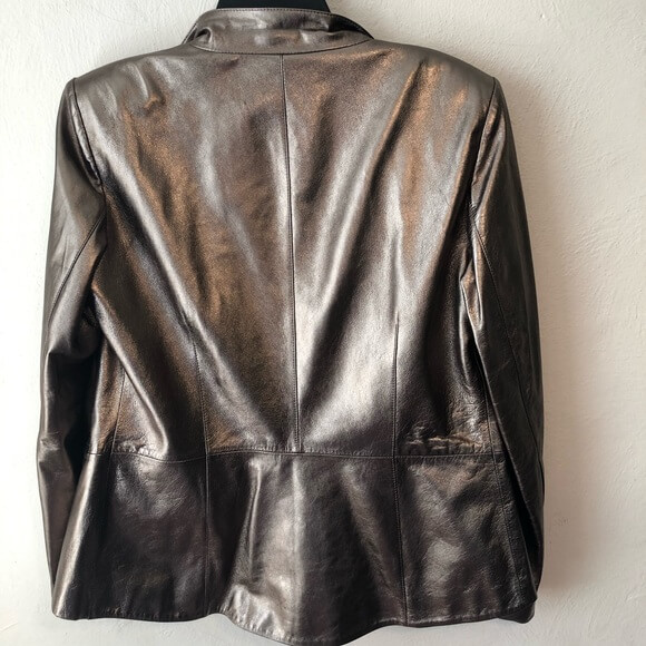 Golden Metallic Biker Leather Jacket