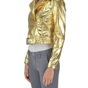 Golden Metallic Effect Biker Leather jacket