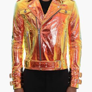 Golden Metallic Leather Biker Jacket with Hologram Effect