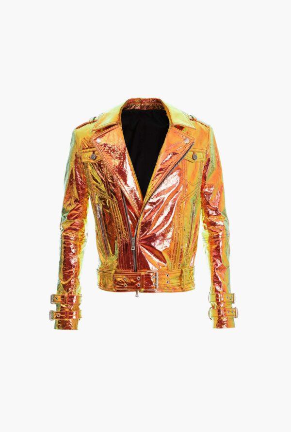Golden Metallic Leather Biker Jacket with Hologram Effect