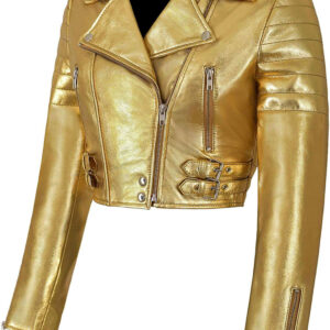 Golden Metallica Leather Cropped Biker Jacket