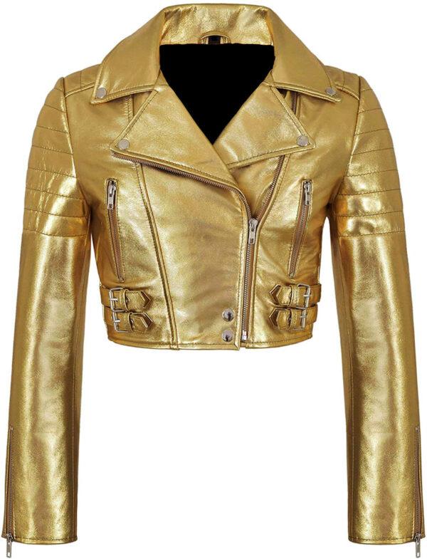 Golden Metallica Leather Cropped Biker Jacket