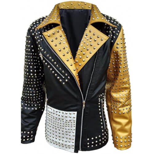 Golden Studded Biker Leather Jacket