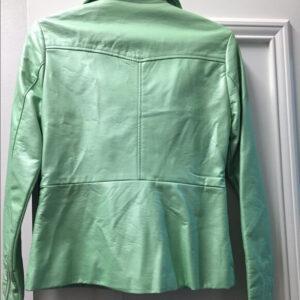 Green Metallic Leather Biker Jacket