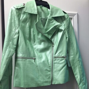 Green Metallic Leather Biker Jacket