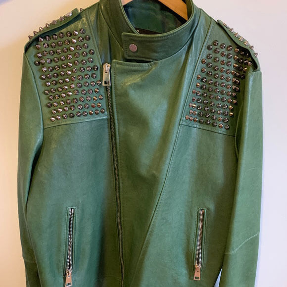 Green Silver Studded Leather Jacket