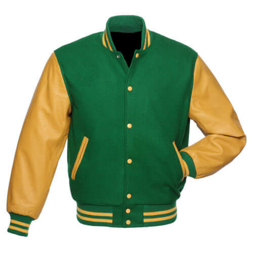 Green Varsity Letterman Baseball Bomber Jacket