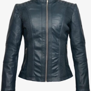 Greenish Slimfit Biker Leather Jacket