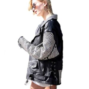 Hailey Baldwin Silver Studded Leather Jacket
