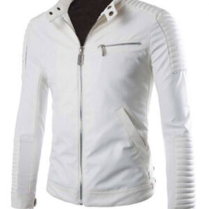 Moto White Leather Jacket