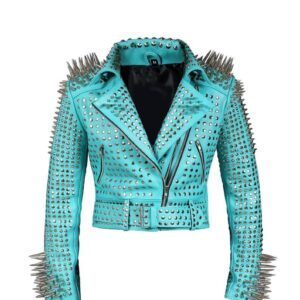 Light Blue Long Spike Silver Studded Biker Jacket