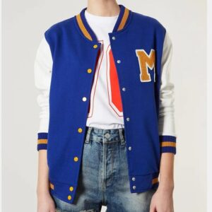 M Varsity Letterman Blue Wool Leather Jacket