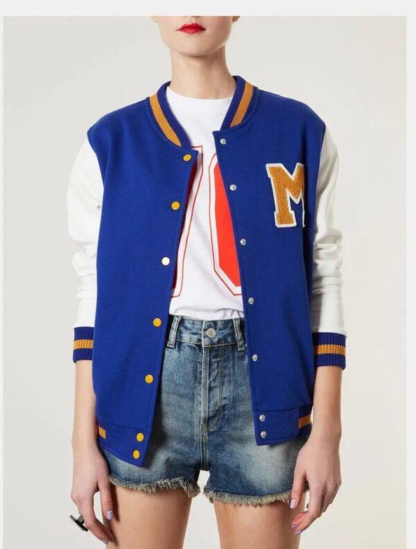 M Varsity Letterman Blue Wool Leather Jacket
