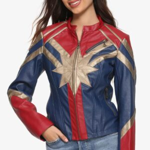 Marvel Captain Metallic Leather Jacket