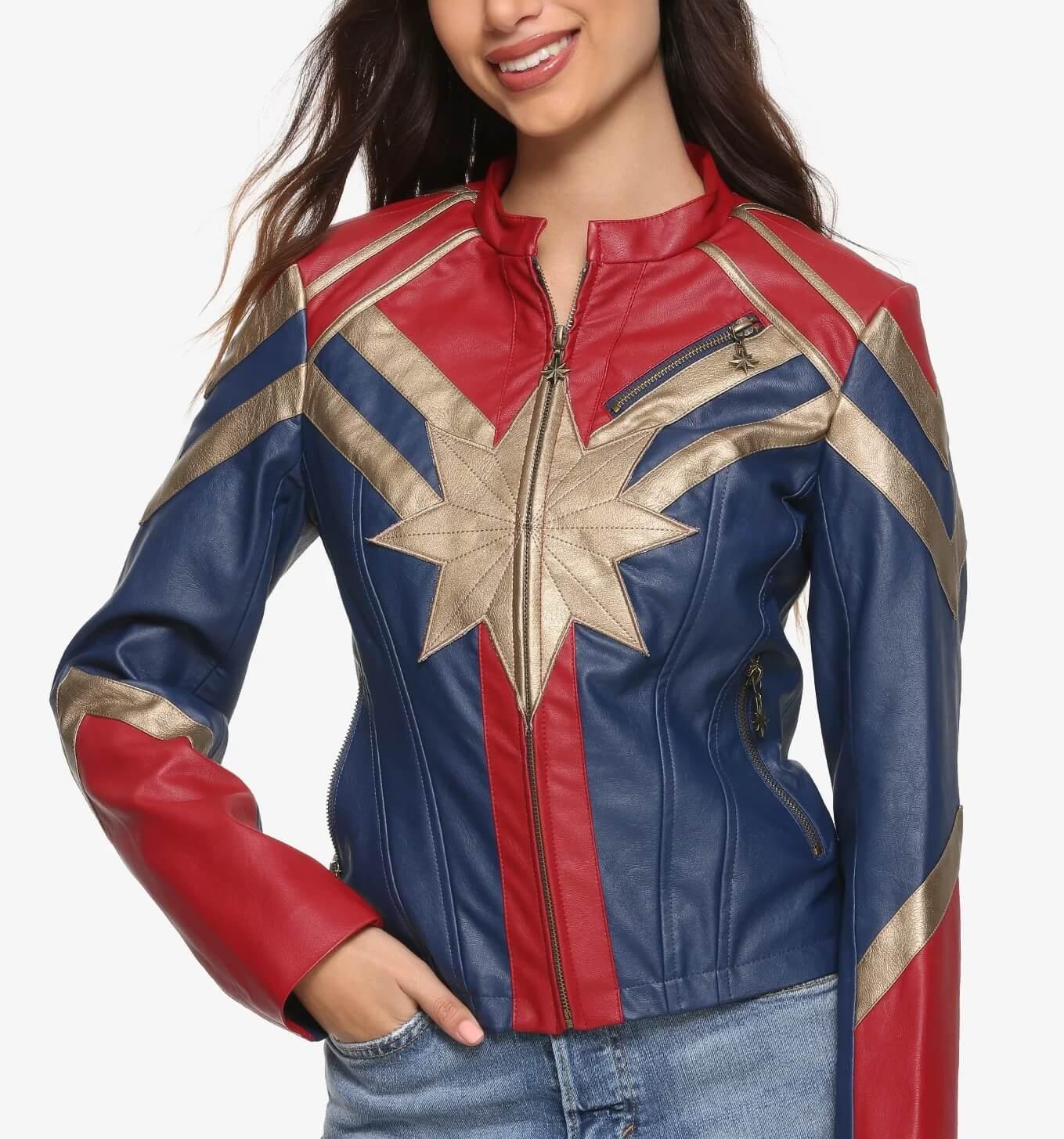 Marvel Captain Metallic Leather Jacket