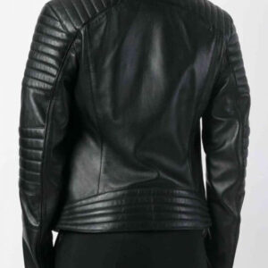 Black Bomber Leather Biker Jacket