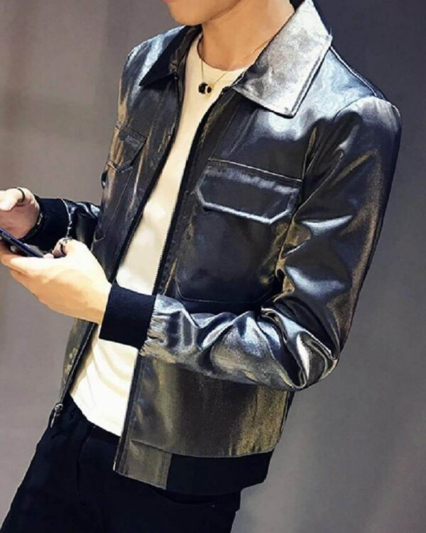 Metallic Black Leather Men's Fashion Jacket