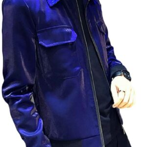 Metallic Blue Leather Men's Fashion Jacket