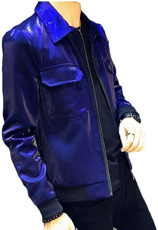 Metallic Blue Leather Men's Fashion Jacket