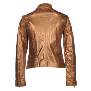 Metallic Brown Fashion Women's Leather Jacket