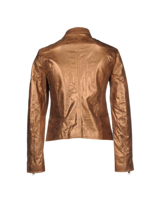 Metallic Brown Fashion Women's Leather Jacket