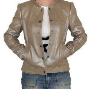 Metallic Brown Leather Women's Jacket