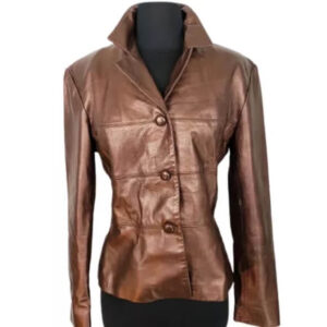 Metallic Brown Men's Leather Jacket