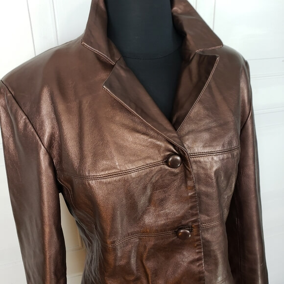 Metallic Brown Men's Leather Jacket