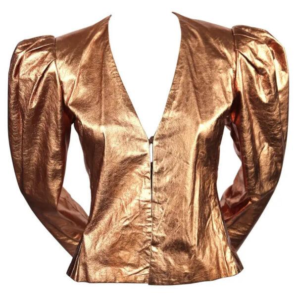 Metallic Copper Vintage 1980's Leather Jacket