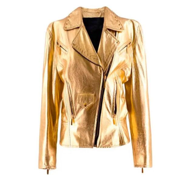 Metallic Gold Leather Biker Jacket