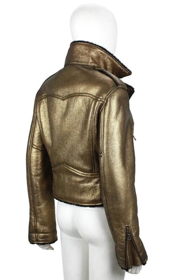 Metallic Gold Leather Black Shearling Biker Jacket