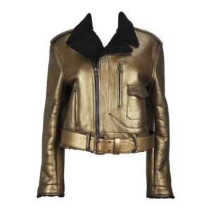 Metallic Gold Leather Black Shearling Biker Jacket