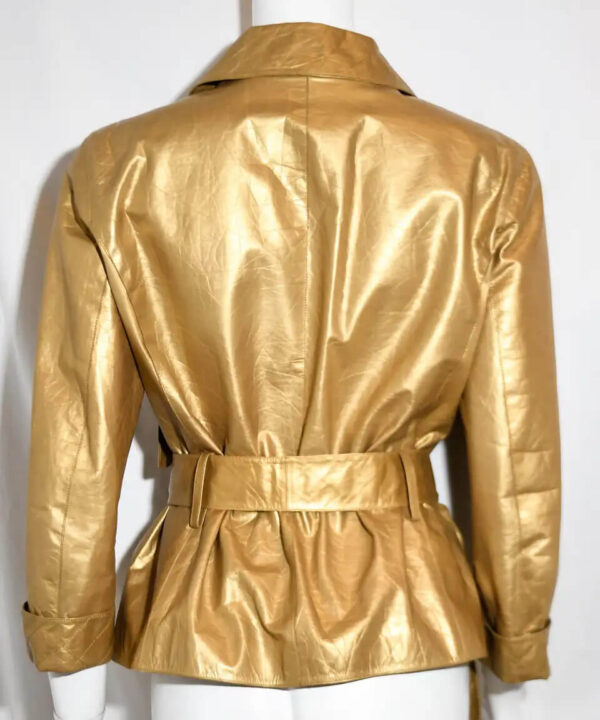 Metallic Gold Tone Leather Belted Jacket