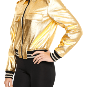 Metallic Golden Leather Women's Jacket