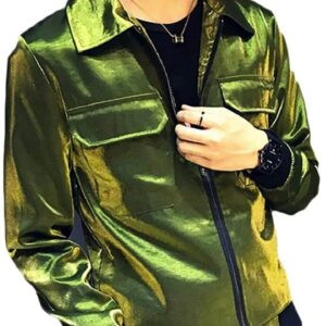 Metallic Green Leather Men's Fashion Jacket