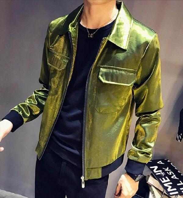 Metallic Green Leather Men's Fashion Jacket