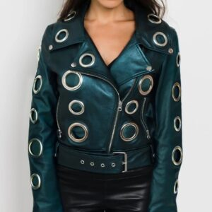 Metallic Leather Women Biker Jacket