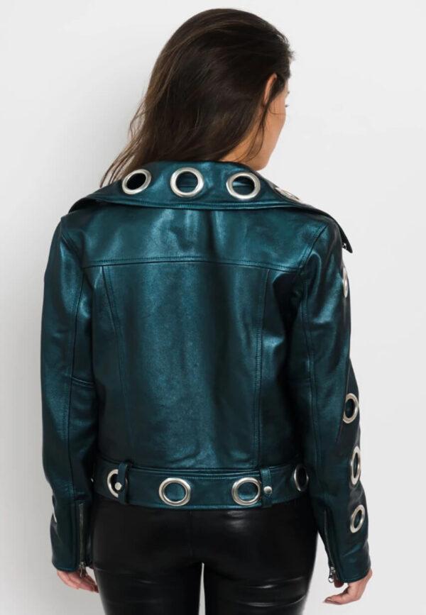 Metallic Leather Women Biker Jacket