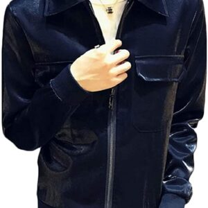 Metallic Navy Blue Leather Men's Fashion Jacket