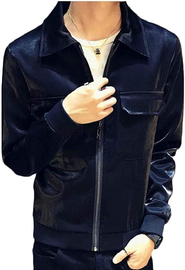 Metallic Navy Blue Leather Men's Fashion Jacket
