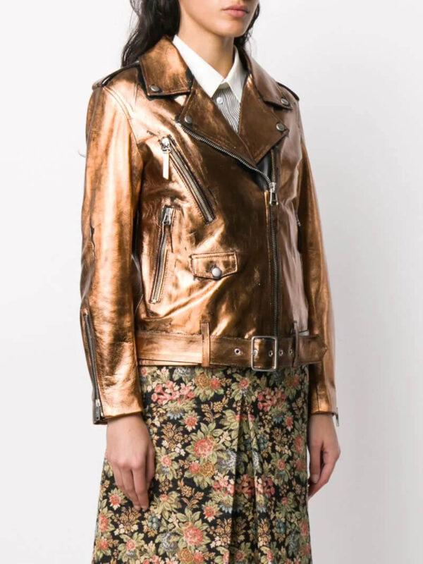 Metallic Sheen Leather Biker Jacket